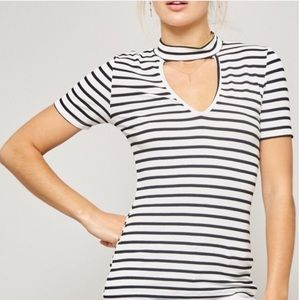 e5c539ff3 Tops - HIGH NECK CUTOUT Front Choker Ribbed Striped Top